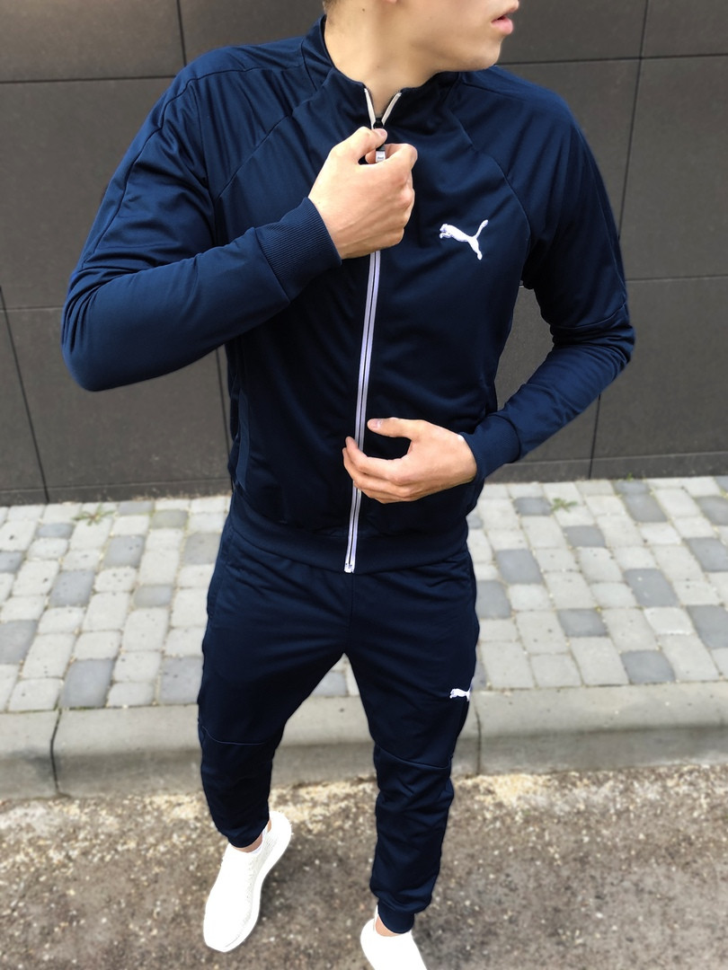 Спортивный костюм мужской весенний Puma синий. Живое фото