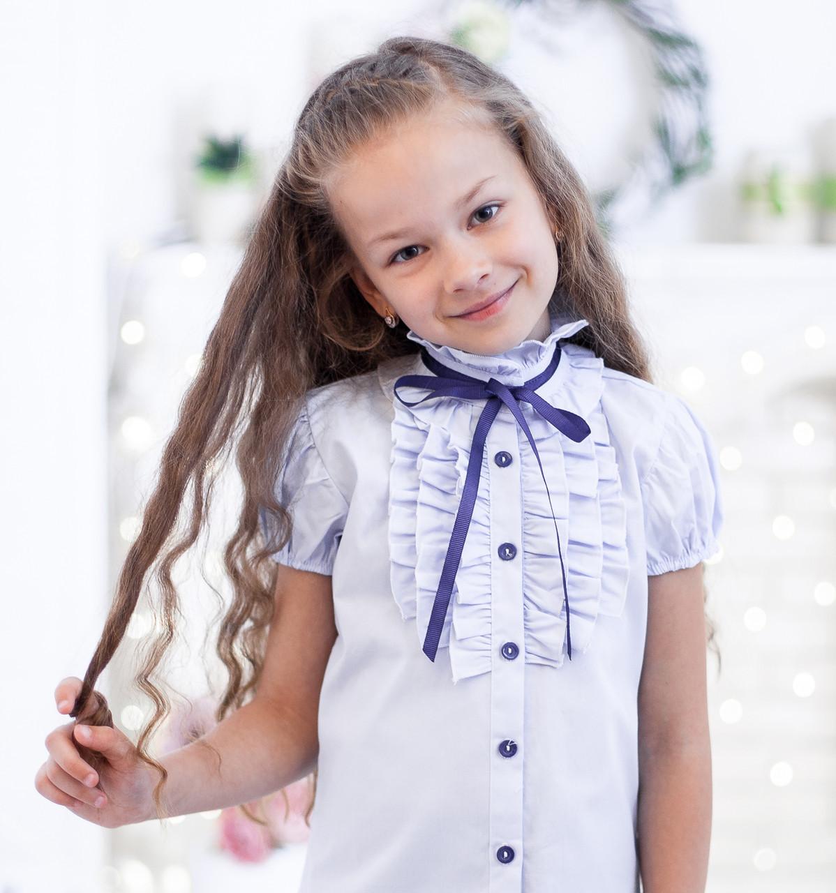 Школьная блузка в голубом цвете на короткий рукав  128, голубой
