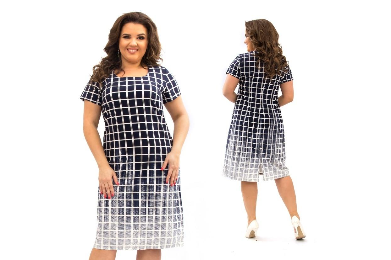 Женское силуэтное платье шелковоев клетку52,54,56,58,60