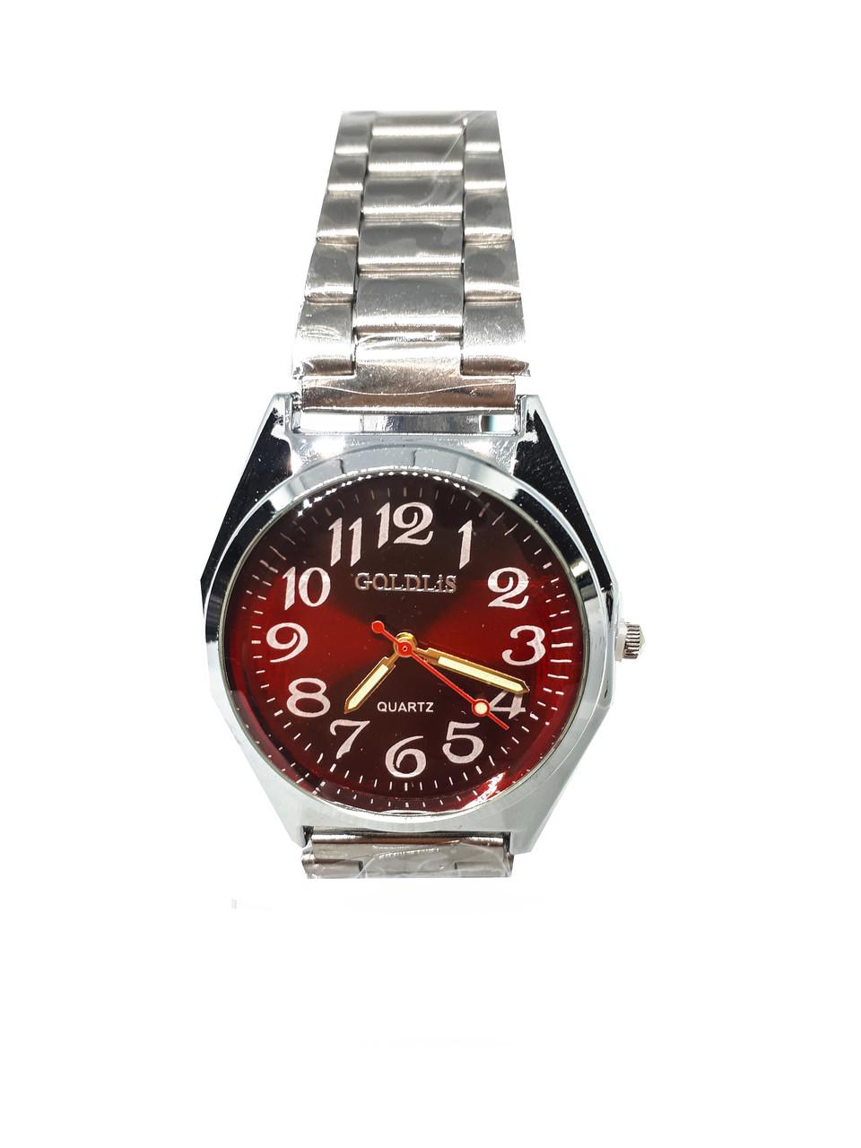 Часы кварцевые мужские на браслете Goldlis Красный