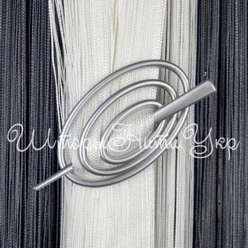 Заколка для штор нитей Овал №4 Серебро матовый