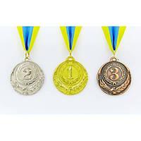 Медаль спортивная с лентой ZING 1-золото, 2-серебро, 3-бронза