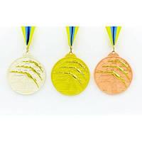 Медаль спортивная с лентой двухцветная Плавание 1-золото, 2-серебро, 3-бронза