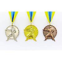 Медаль спортивная с лентой Карате 1-золото, 2-серебро, 3-бронза