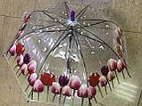 Зонтик детский прозрачный с цветами тюльпанов по краю купола  на 8 спиц , фото 3