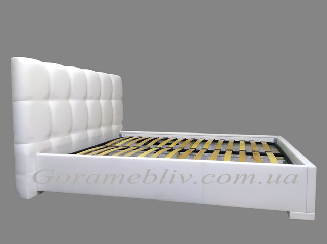 """На фото: кровать двуспальная с подъемным механизмом """"Даллас"""" белого цвета"""