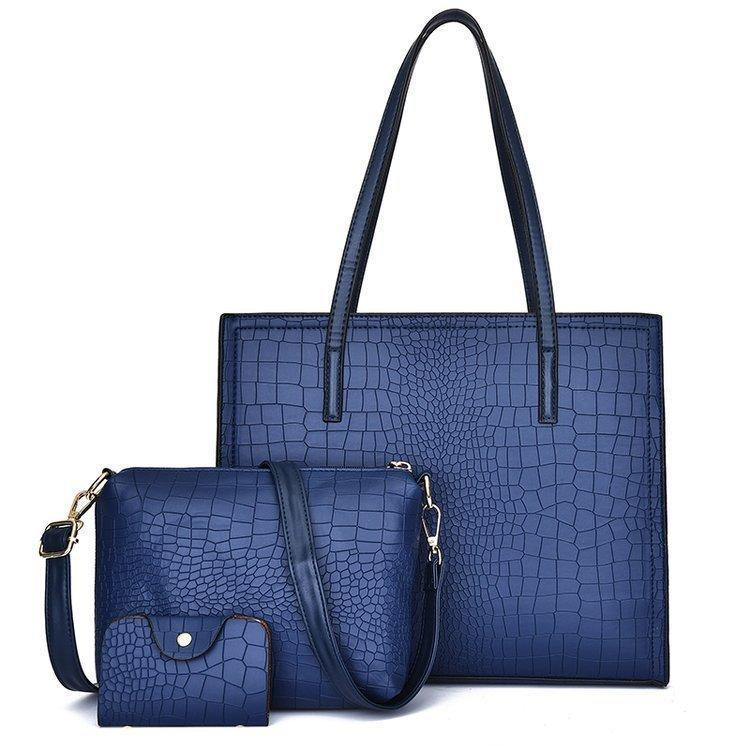 Набор женских сумок 3в1 синего цвета