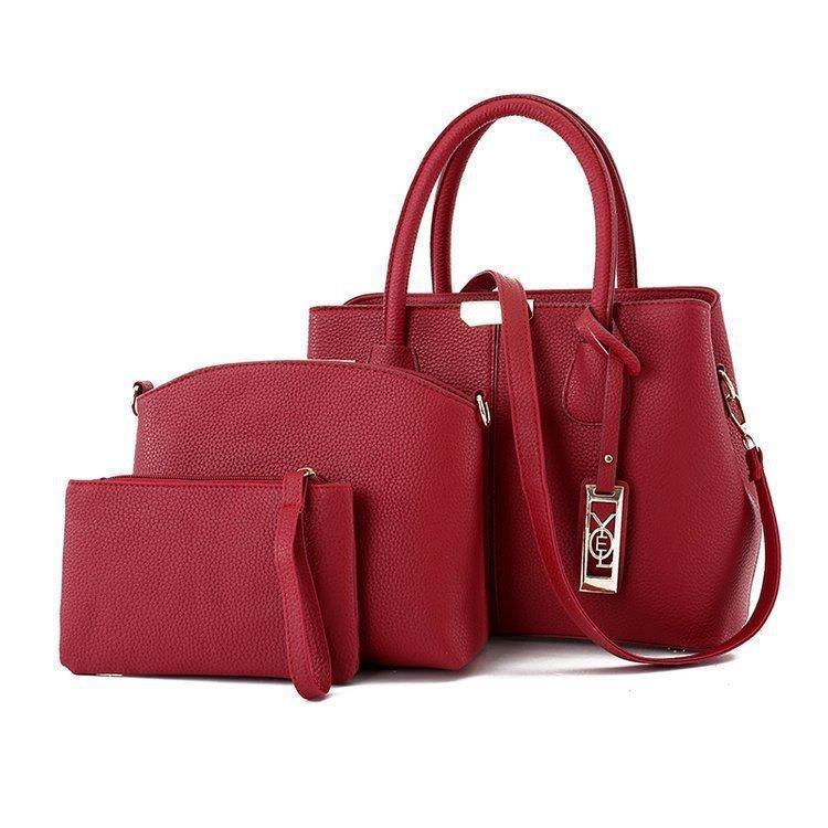 Модная женская сумка красная набор 3в1 из экокожи