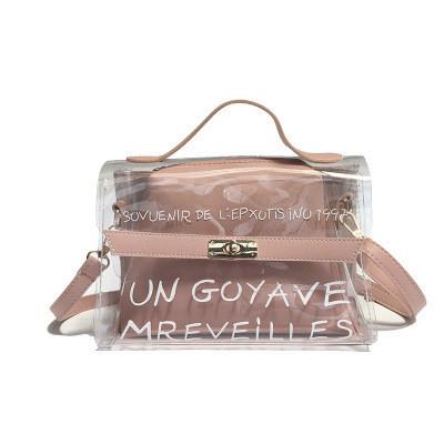 Маленькая прозрачная сумка + косметичка с надписью розовая