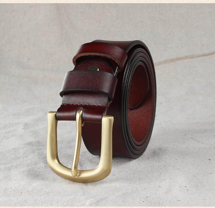 Кожаный мужской ремень коричневого цвета, фото 1