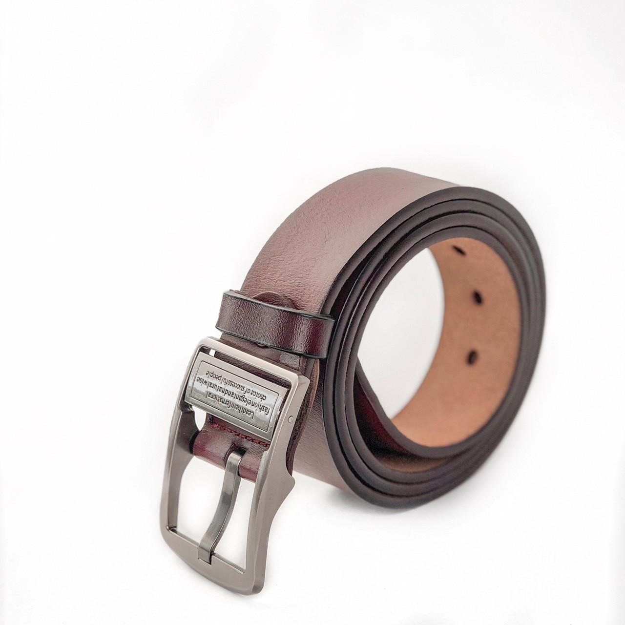 Кожаный мужской ремень бордового цвета опт