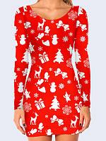 7722a0d158c Женское Платье Новогодний принт с 3D Принтом Рисунком Модное