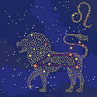 """Картина по номерам - """"Звездный знак Лев"""" с краской металлик 50*50см KH9504"""