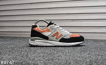 """Женские кроссовки New Balance 998 """"Gray Black Orange"""" (люкс копия)"""