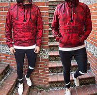 Мужская демисезонная куртка анорак с капюшоном вишневая ветрозащитная