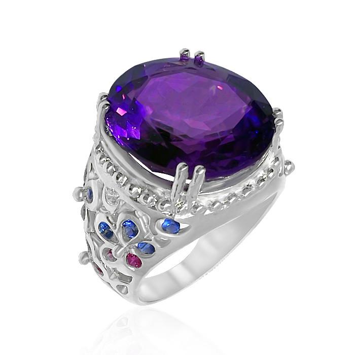 Кольцо серебряное с натуральным аметистом размер 17