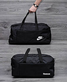 Спортивная, дорожная сумка найк рибок с плечевым ремнем. Черная