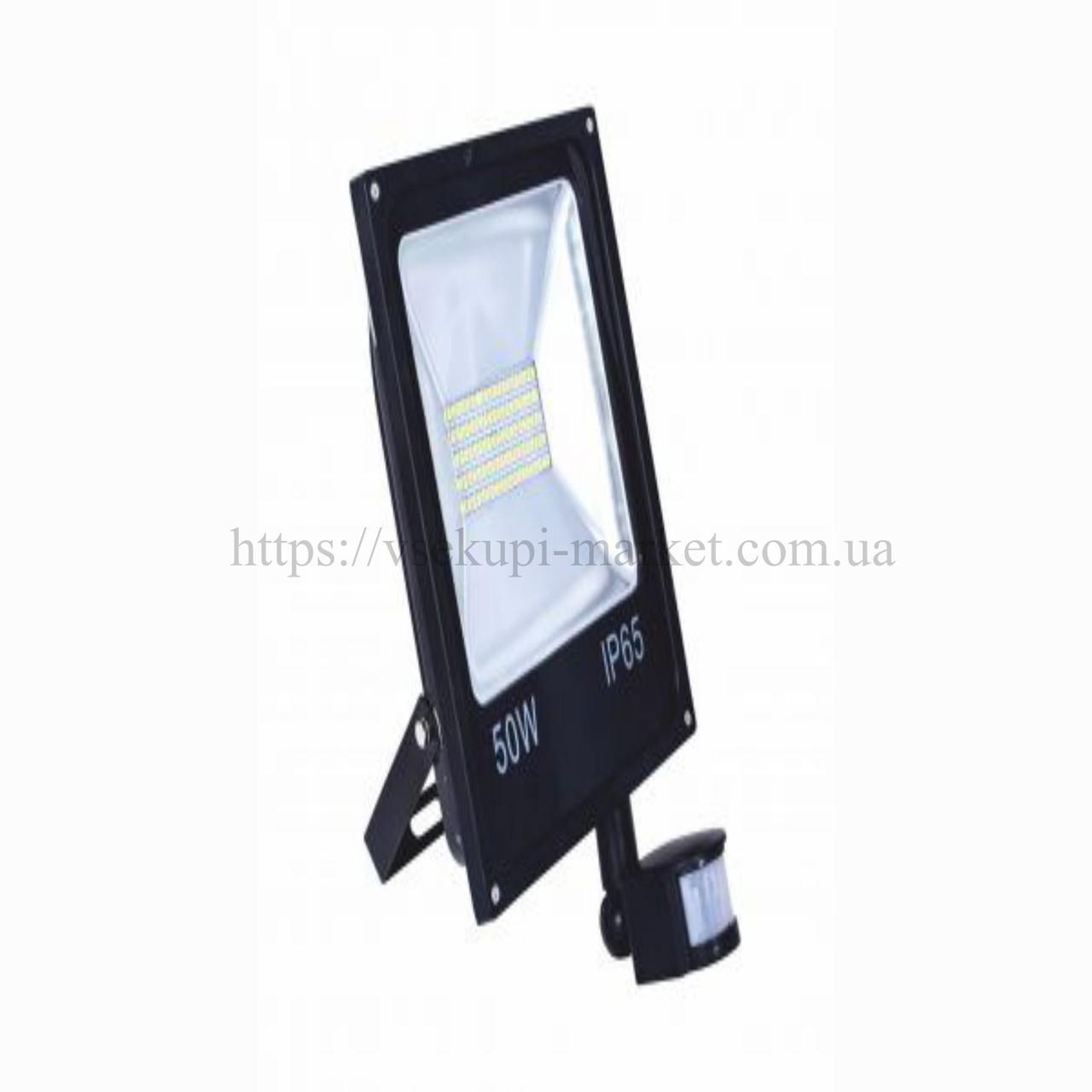Прожектор RIGHT HAUSEN STANDARD LED 50W 6500K IP65 черный с датчиком движения PR HN-191082N