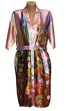 Шелковый комплект халат с ночной рубашкой 3D рисунок тюльпаны