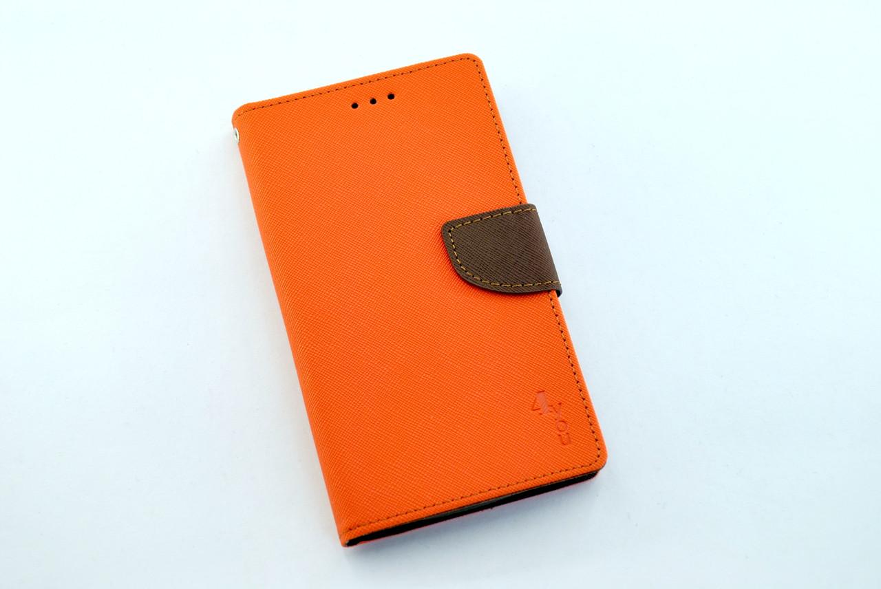 """Чехол-книжка 4you Fancy 4,9""""-5,3"""" orange/brown универсальная ТОП Продаж!"""