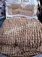 Универсальный чехол на угловой диван и кресло Бежевого цвета