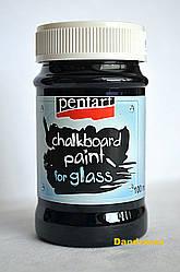 Краска с эффектом графитный доски для стекла, Черная, 100мл, Pentart