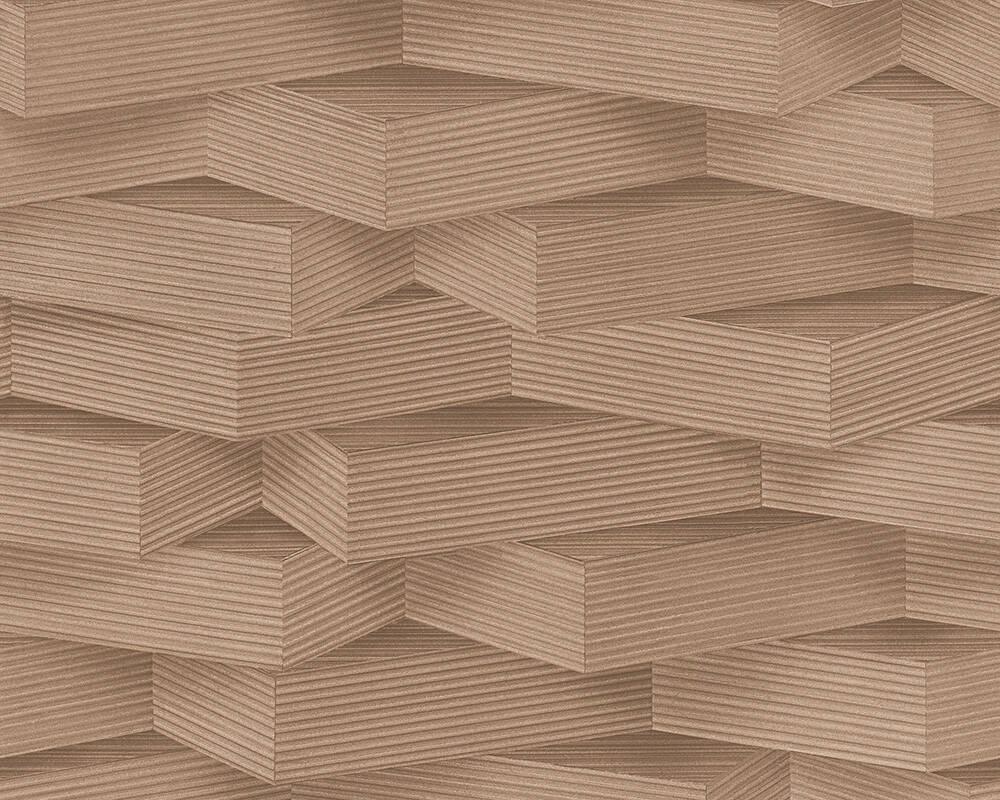 Стереоскопические дизайнерские немецкие обои 960001, коричневые с 3d объемным креативным узором - геометрия