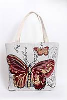 Белая пляжная сумка с яркой бабочкой