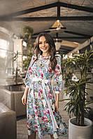 Женское стильное платье с цветочным принтом