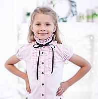 Школьная розовая нарядная блузка с рюшами и чёрной лентой
