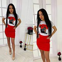 Костюм красная юбка и белая футболка с рисунком