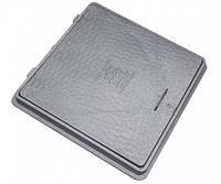 Люк из полимерных материалов квадратный, с ручкой и замком, серого цвета, размеры 65*65 см, влагостойкий