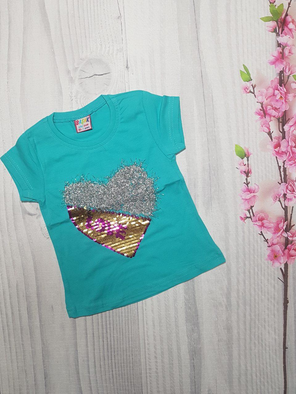 Детская Летняя футболка  для девочки LOVE  1-4 года