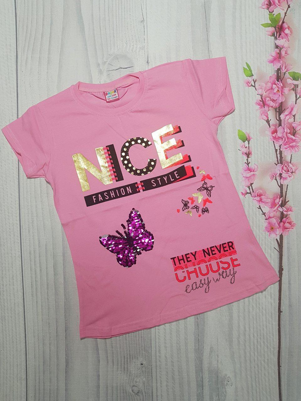 Подростковая футболка для девочки на лето NICE  5-8 лет