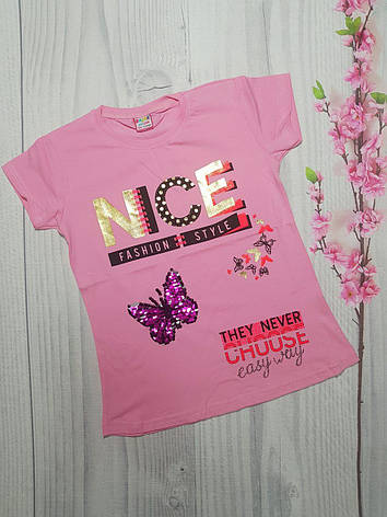 Подростковая футболка для девочки на лето NICE  5-8 лет, фото 2