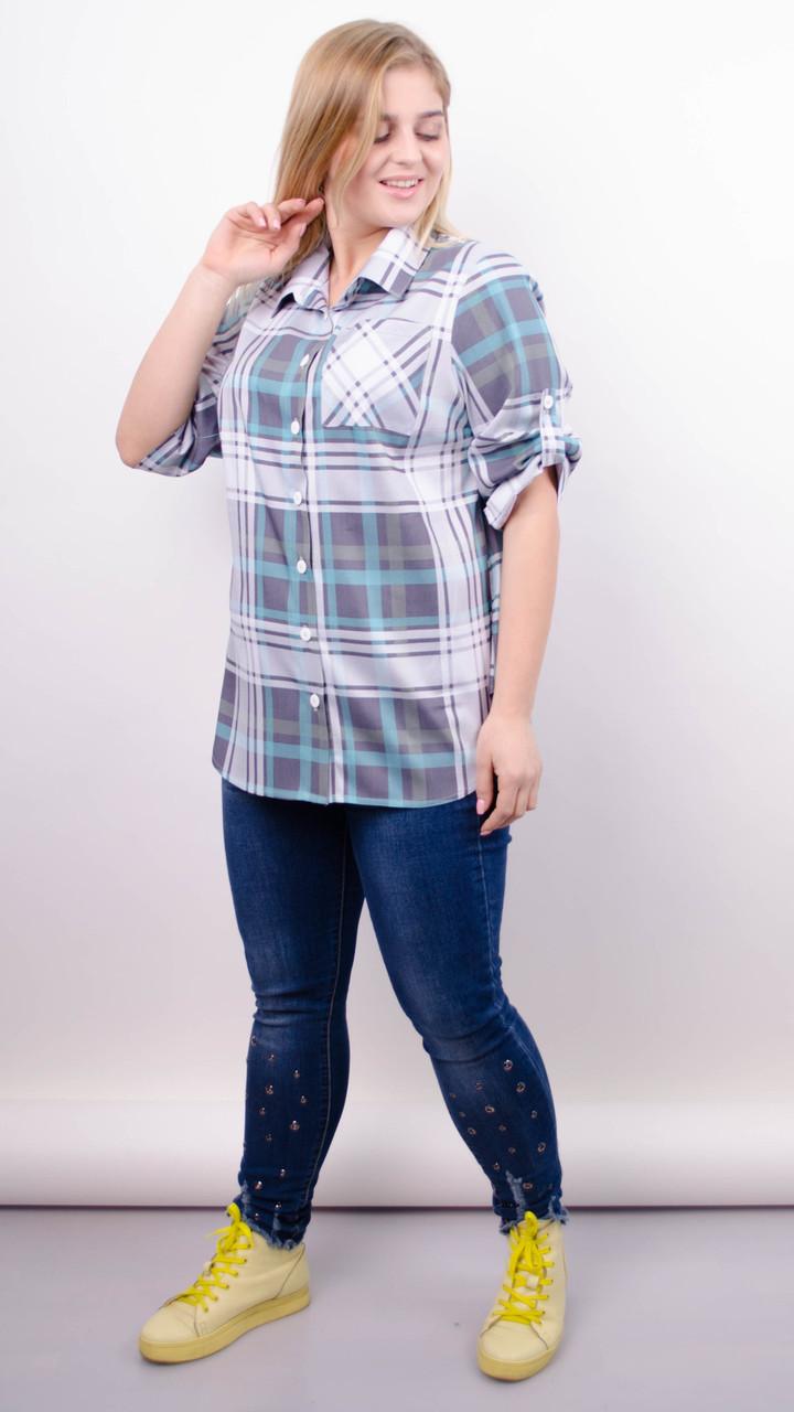 Стильная женская рубашка Делюкс. Клетка бирюза