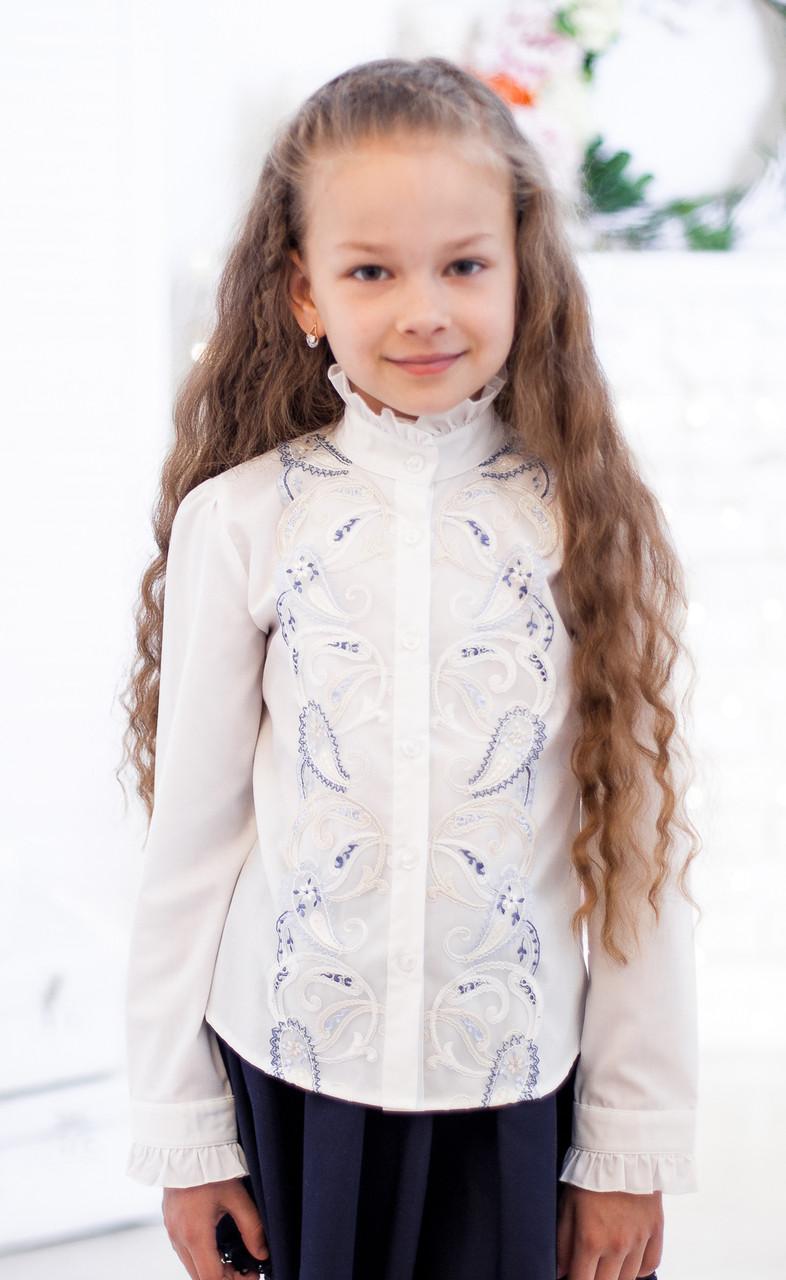 Блузка рубашка для девочки 2047 в молочном цвете 140, молочный