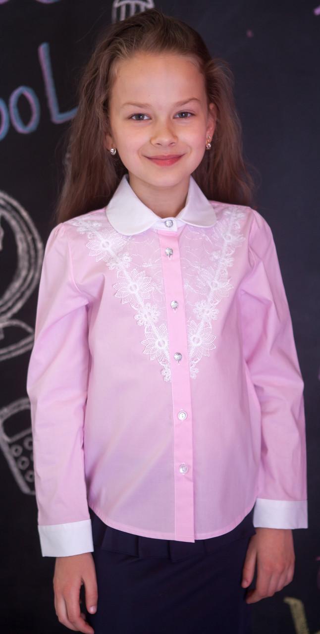 Блузка рубашка для девочки розовая мод.5073