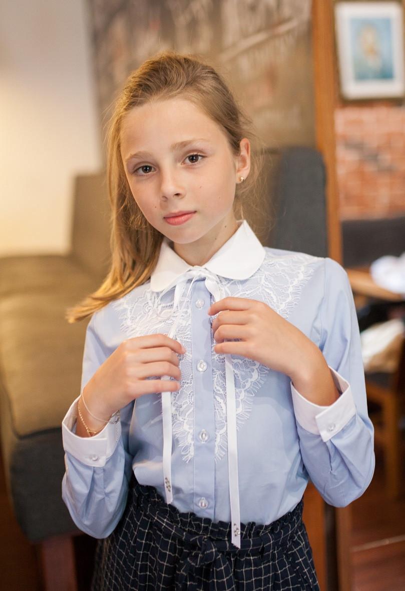 Блузка рубашка для девочки голубая мод.5073
