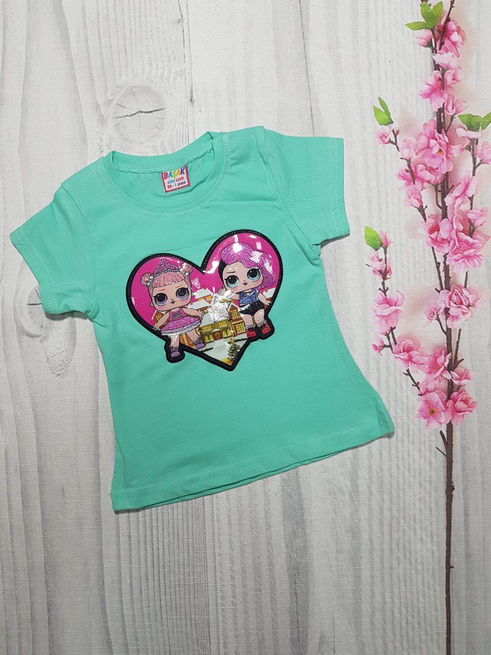 Детская футболка для девочки с мигающим принтом Сердце 1-4 года