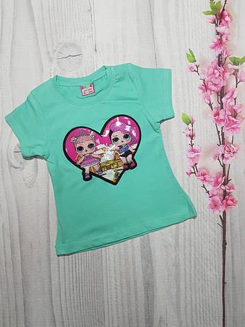 Детская футболка для девочки с мигающим принтом Сердце 1-4 года, фото 2