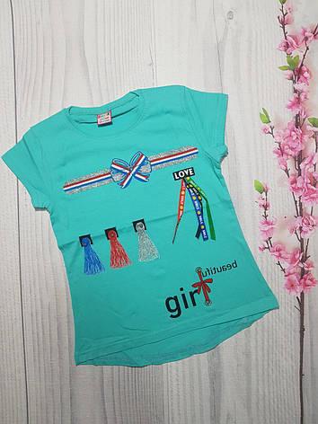 Детская Летняя футболка  для девочки GIRL 9-12 лет, фото 2