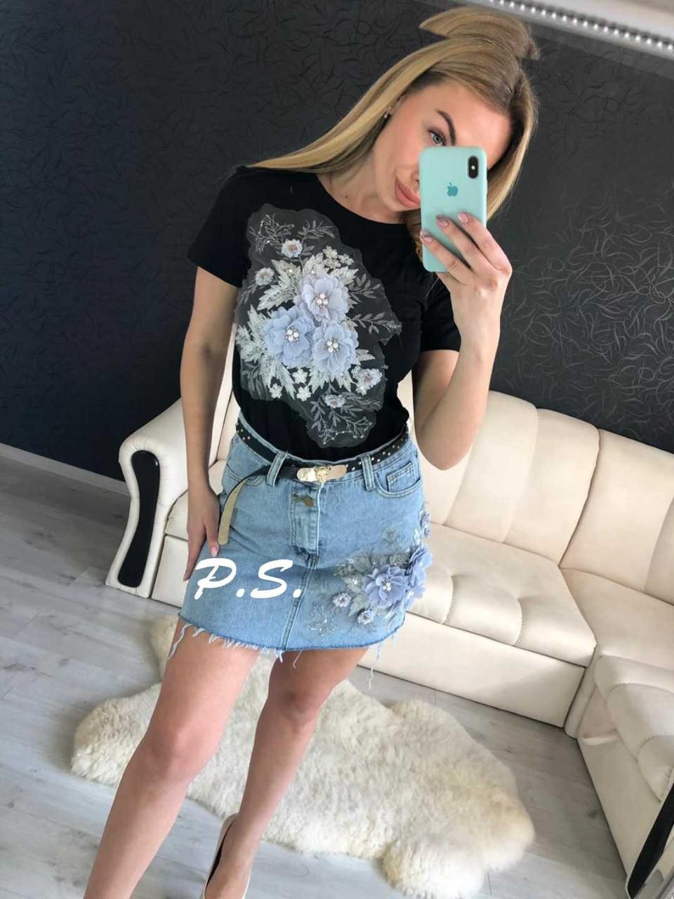 31dcfa69a66d94 Молодёжный, женский, летний костюм с красивой аппликацией(футболка+джинсовая  юбка)РАЗНЫЕ ПРИНТЫ