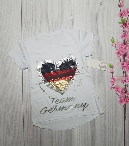 Дитяча Літня футболка для дівчинки Серце 9-12 років, фото 2