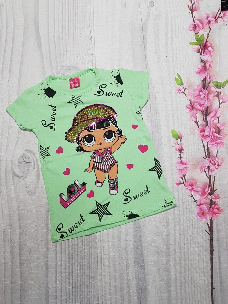 Летняя футболка для девочки LOL 1-8 лет перевертыш