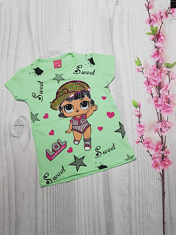 Летняя футболка для девочки LOL 1-8 лет перевертыш, фото 2