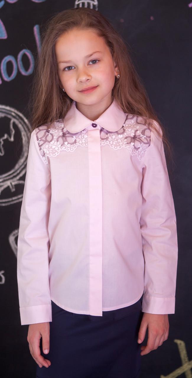 Блузка рубашка для девочки розовая мод.5041