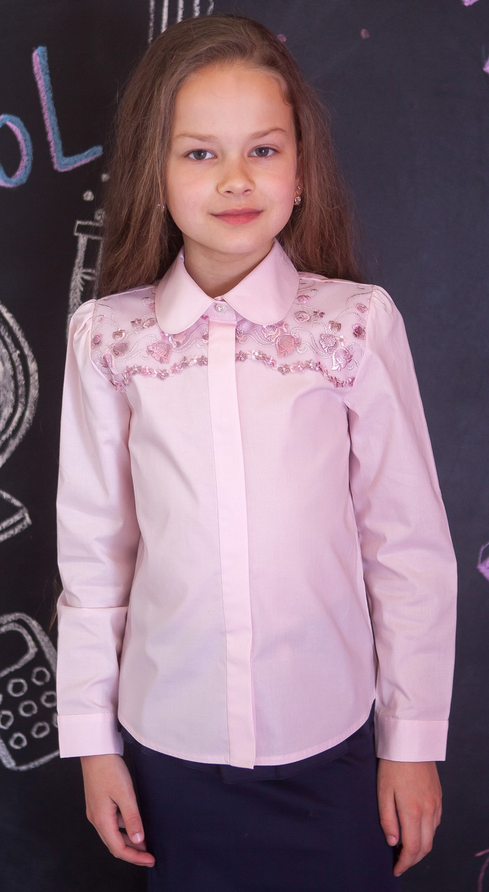 Блузка рубашка для девочки розовая мод.5041/1