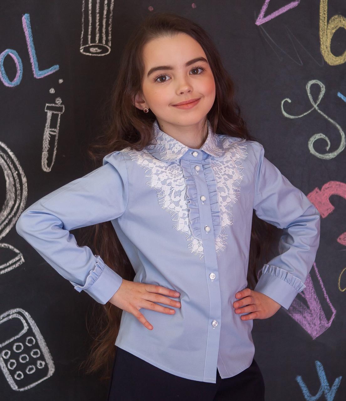 Рубашка для девочки голубая с кружевом и кружевным воротничком