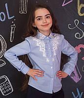 Рубашка для девочки голубая с кружевом и кружевным воротничком, фото 1